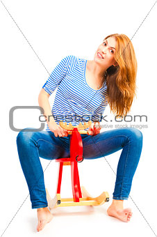 adult girl fooling around and having fun in the studio