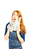 Surprised girl thinks to spend money