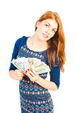 beautiful smiling woman holding a fan of money