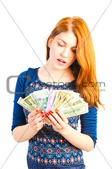 girl with a fan of paper money