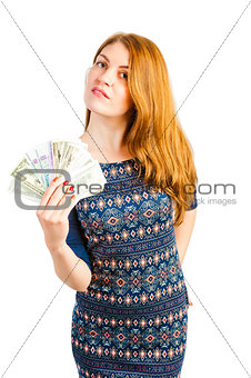 woman isolated on white background with money