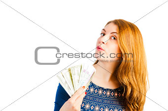 portrait of a girl with beautiful eyes with money