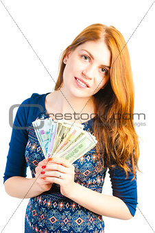 shot of a beautiful girl in the studio with the money