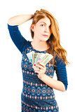 young businesswoman with money on white background
