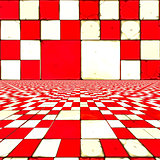 Distorted red checkers