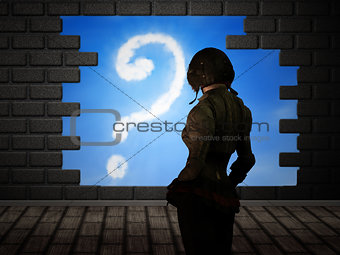 Girl looking at hole in brick wall interior