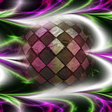 Glowing colorful background with sphere
