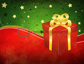 Grunge background with gift box