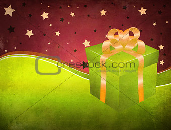 Grunge background with green gift box