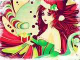 Grunge candy background with Santa girl
