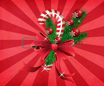 Grunge christmas candy cane red background