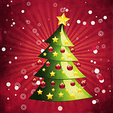 Grunge Christmas tree on red background