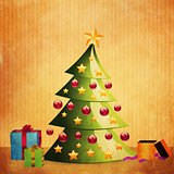 Grunge Christmas tree with gifts
