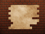 Hole in red brick wall