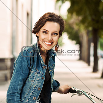 woman on city bike
