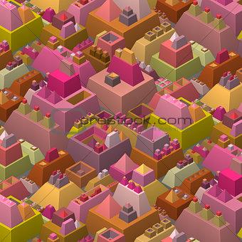 3d stylized futuristic city in multiple bright color