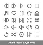 Outline media player icons set