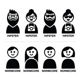 Hipster and normcore trend, style - man and woman icons