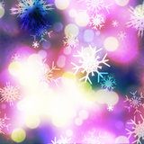 Purple bokeh and snowflakes