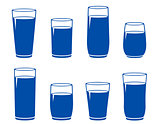 set of blue water glass