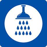 blue shower head icon