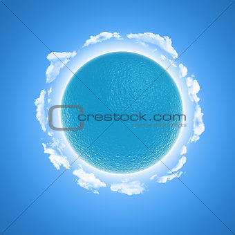 3D render of a watery globe and clouds