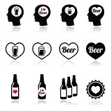 Man loving beer vector icons set