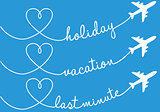 holiday, vacation, flying, vector set