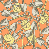 Sketch shovel and helmet, vector  seamless pattern
