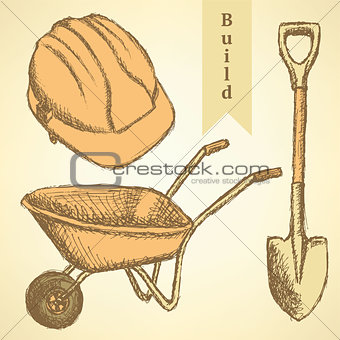 Sketch helmet, barrow and shovel,  vector  background