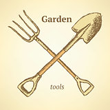 Garden fork and shovel,  background in sketch style