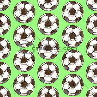 Sketch football ball, vector seamless pattern