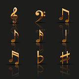 Golden musical notes. Icons set