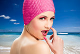 woman wearing a swim cap