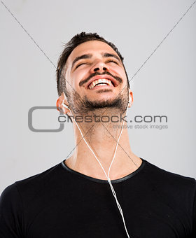 Happy man listen music
