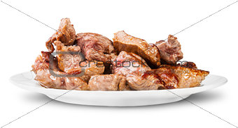 Grilled Meat On A White Plate Rotated