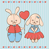 two valentine rabbit in love. Valentine background with Rabbits