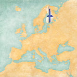 Map of Europe - Finland (Vintage Series)