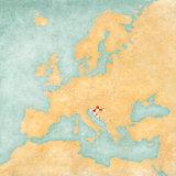 Map of Europe - Croatia (Vintage Series)