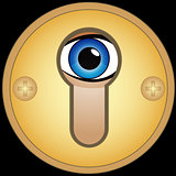 Eye in golden keyhole