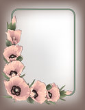 Pink poppies floral horizontal frame