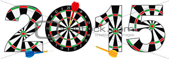 2015 New Year Number Outline Dartboard