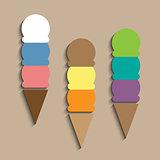 Ice-creams in waffle cones