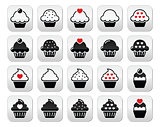 Cupcake with heart, cherry and sparkles buttons set