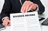 lawyer showing a divorce decree