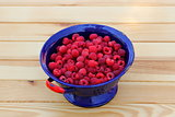 Raspberries in colander