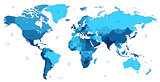 Blue detailed World map