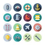 Flat Design Icons For Transportation