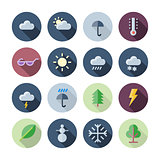 Flat Design Icons For Weather and Nature