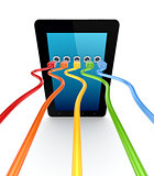 Colorful patchcords connected to tablet pc.